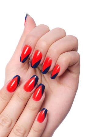 Nail concepto de arte con las manos en blanco