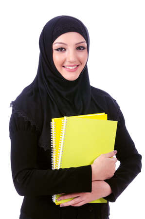 middle eastern ethnicity: Young muslim woman with book on white
