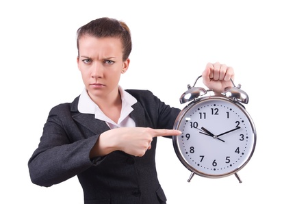 Woman with giant clock on white Stock Photo - 21087013