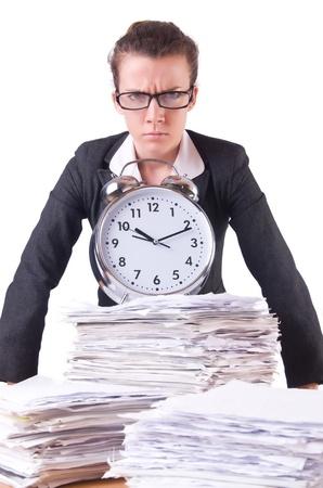 Woman businesswoman with giant alarm clock Stock Photo - 21029642