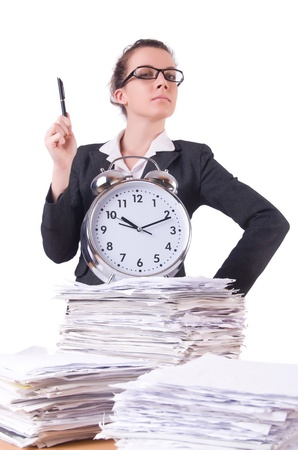 Woman businesswoman with giant alarm clock Stock Photo - 21029644