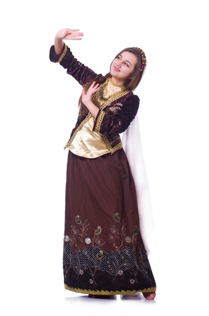 Young lady dancing traditional azeri dance Stock Photo - 21086992
