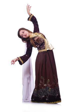 Young lady dancing traditional azeri dance Stock Photo - 21087010