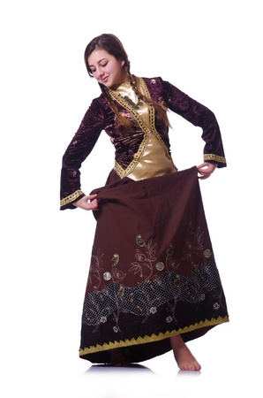 Young lady dancing traditional azeri dance Stock Photo - 21086993