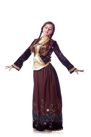 Young lady dancing traditional azeri dance Stock Photo - 21110328