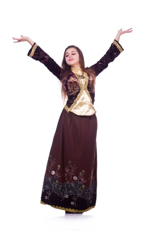 Young lady dancing traditional azeri dance Stock Photo - 21110336