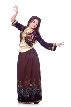 Young lady dancing traditional azeri dance Stock Photo - 21110337