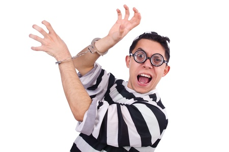 Funny convict isolated on the white Stock Photo - 21029678