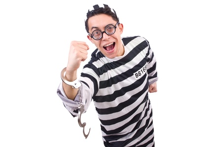 Funny convict isolated on the white Stock Photo - 21029679