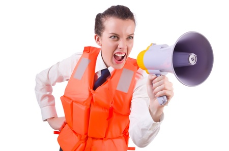 Young woman with vest and loudspeaker on white Stock Photo - 21029688