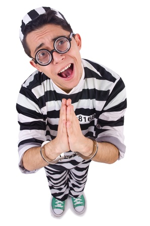 Funny convict isolated on the white Stock Photo - 21029729
