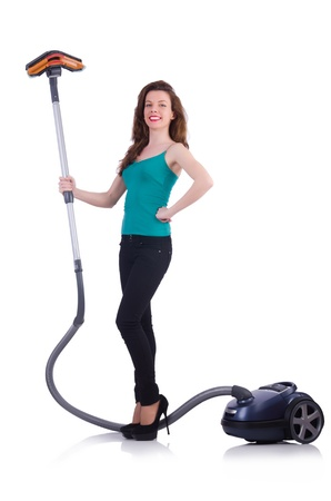 Young woman with vacuum cleaner on white Stock Photo - 21087002