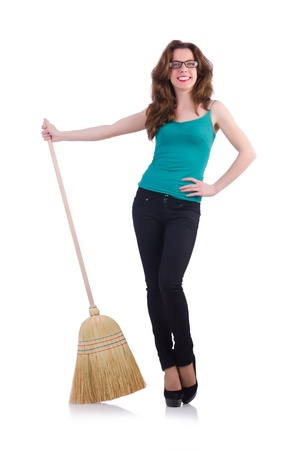Young woman with broom isolated on white Stock Photo - 21087007