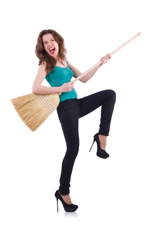 Young woman with broom isolated on white Stock Photo - 21087005