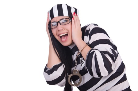 Prisoner in striped uniform on white Stock Photo - 21029732