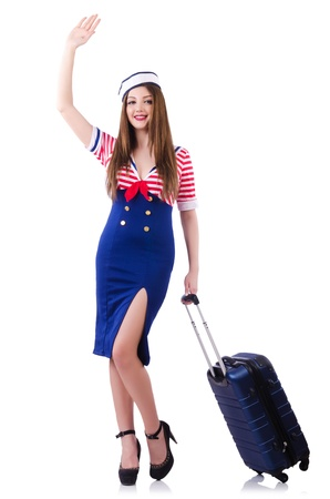 Woman travel attendant with suitcase on white Stock Photo - 21110433