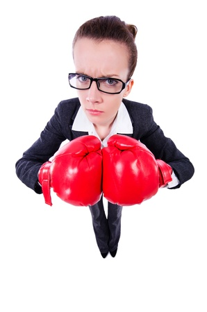 Woman with boxing gloves on white Stock Photo - 21087035