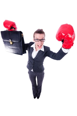 Woman with boxing gloves on white Stock Photo - 21087053