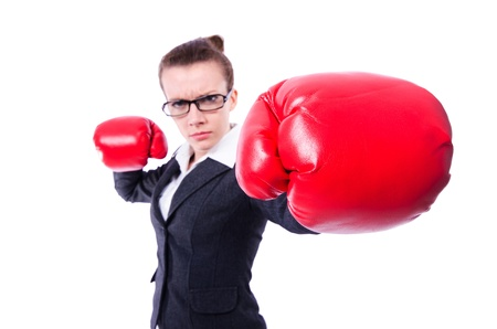 Woman with boxing gloves on white Stock Photo - 21087038