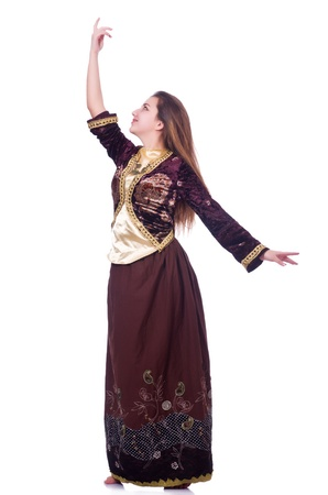 Young lady dancing traditional azeri dance Stock Photo - 21087039