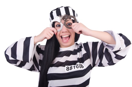 Prisoner in striped uniform on white Stock Photo - 21058743