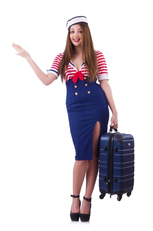 Woman travel attendant with suitcase on white Stock Photo - 21110434