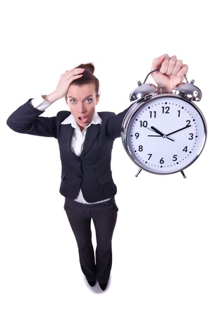 Funny woman with clock on white photo