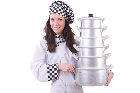 Cook with stack of pots on white Stock Photo - 21058750