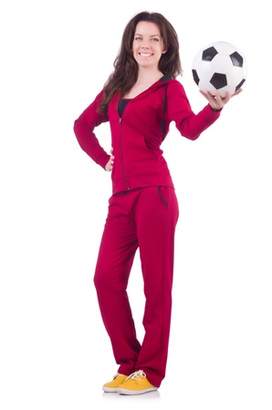 Young woman with football on white Stock Photo - 21087046