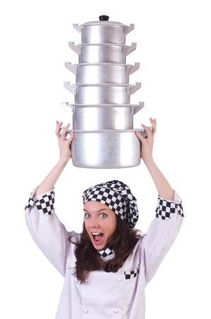 Cook with stack of pots on white Stock Photo - 21087049