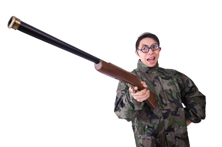 Funny soldier isolated on the white Stock Photo - 21087103