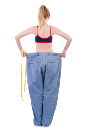 oversize: Dieting concept with oversize jeans Stock Photo