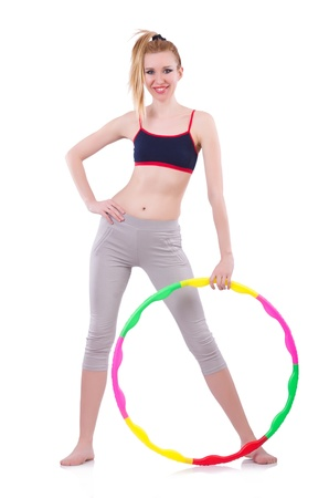 Woman doing exercises with hoop photo