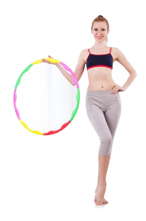 Woman doing exercises with hoop Stock Photo - 21058867