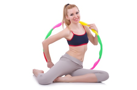 Woman doing exercises with plastic hoop Stock Photo - 21087093