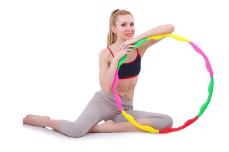 Woman doing exercises with hula hoop Stock Photo - 21110464