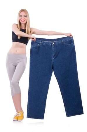 Dieting concept with oversize jeans photo