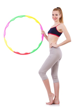 Woman doing exercises with hoop Stock Photo - 21058878