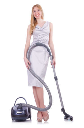 Young woman with vacuum cleaner on white Stock Photo - 21087095