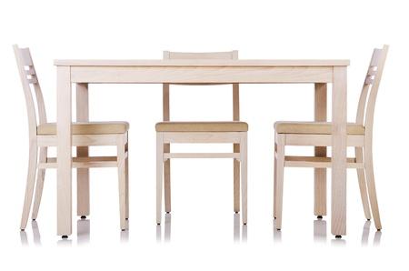 muebles de madera: Muebles establece con mesa y silla Foto de archivo