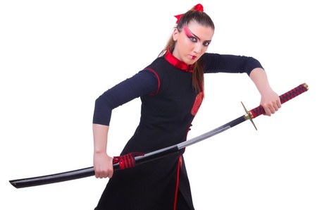 Woman in japanese martial art concept Stock Photo - 21077296