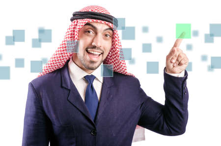 Arab man pressing virtual buttons Stock Photo - 21085407