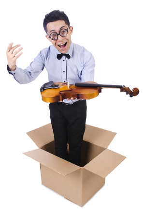 concerto: Man playing violin from the box