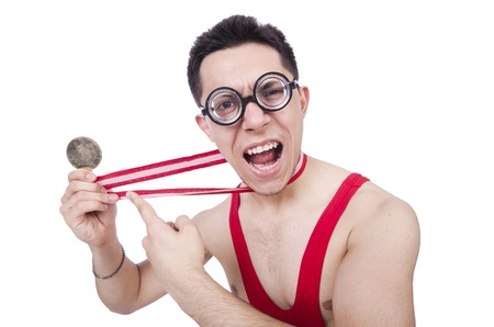 pankration: Funny wrestler with winners medal Stock Photo