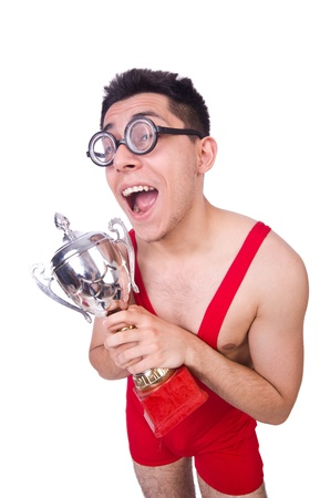 Funny wrestler with winners cup Stock Photo - 21029786