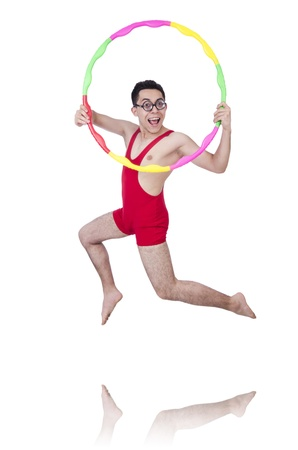 Funny sportsman with hula hoop on white Stock Photo - 21106642