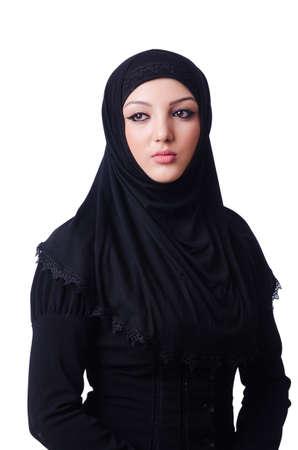 Muslim young woman wearing hijab on white photo