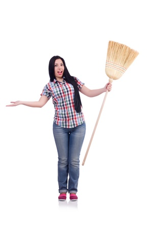 Young woman with broom isolated on white Stock Photo - 21029827