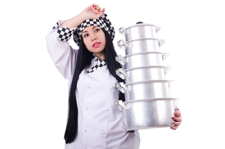 Cook with stack of pots on white Stock Photo - 21029828