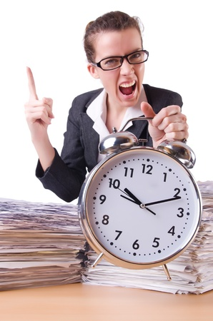 Woman businesswoman with giant alarm clock Stock Photo - 21110513
